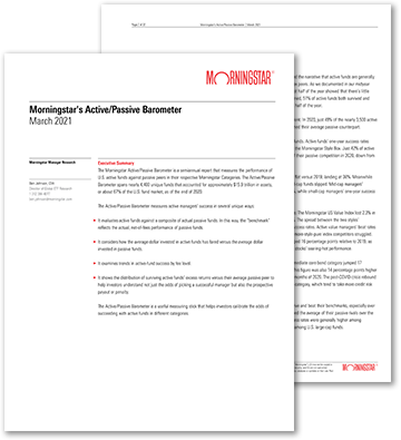 Cover page of the Morningstar active/passive report